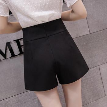 Дамски модерни къси панталони с метален елемент на талията