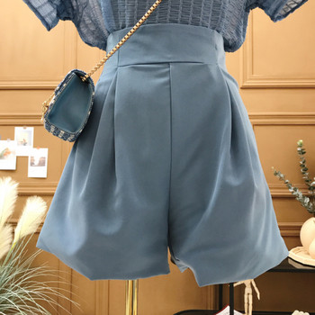 Изчистени къси дамски панталони с висока талия - широк модел