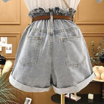 Широки къси дънкови панталони с висока талия