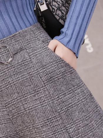 Дамски есенно-зимни къси панталони с метален елемент на талията