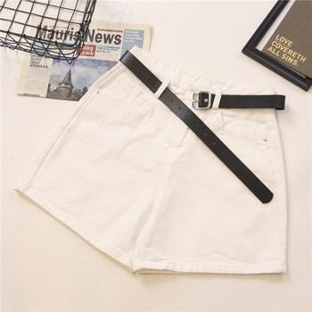 Дамски къси панталони широк модел с колан и висока талия