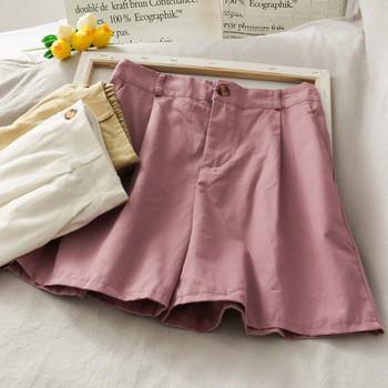 Широки дамски къси панталони с висока талия