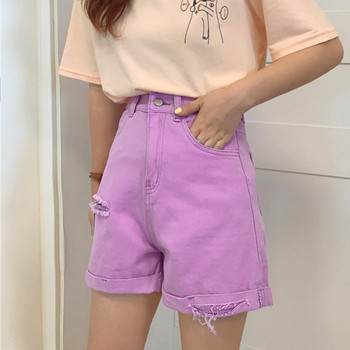 Лилави къси панталони с висока талия и скъсани мотиви