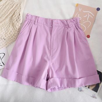 Къси дамски панталони с еластична талия и копче