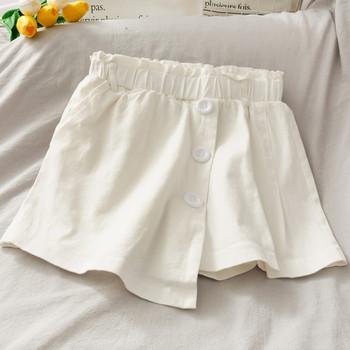Асиметрични дамски къси панталони с висока талия и копчета