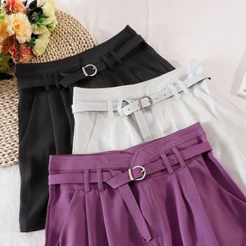 Дамски къси панталони широк модел с висока талия и колан