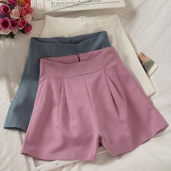Ежедневни дамски къси панталони широк модел с цип
