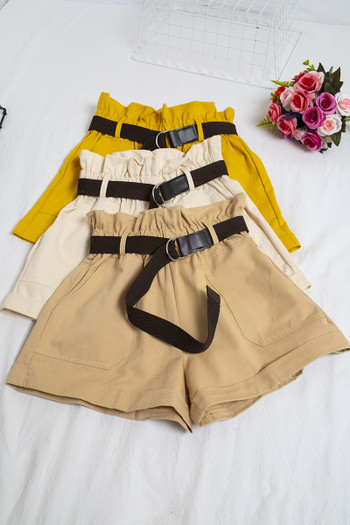 Дамски панталони широк модел с колан и висока талия