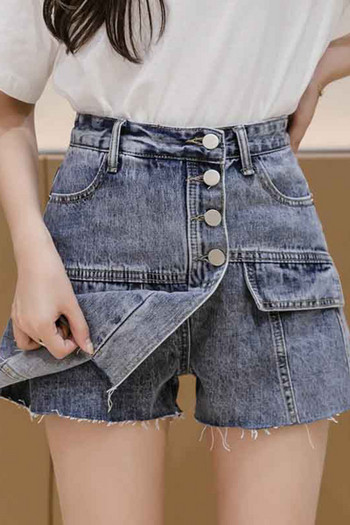 Къси дамски дънки тип пола с висока талия и копчета