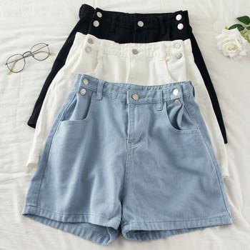 Дамски къси дънки с копчета и джобове