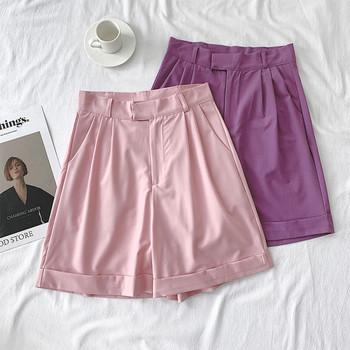Дамски къси панталони-широк модел с висока талия