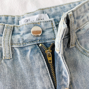 Къси дамски дънки с висока талия и джобове
