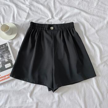 Дамски къси панталони с еластична талия и копче