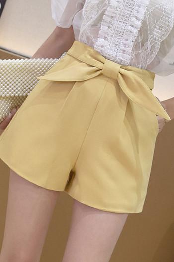 Къс дамски панталон с висока талия и панделка