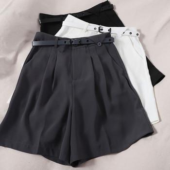 Стилни къси панталони широк модел с висока талия и колан