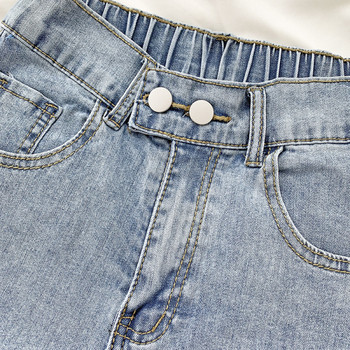 Дамски къси дънки с еластична талия и копчета