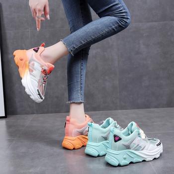 Двуцветни дамски маратонки с висока подметка