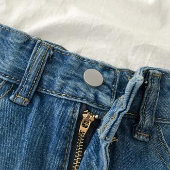 Модерни къси дънки с висока талия и капси