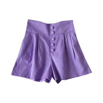 Къси панталони широк модел с копчета и висока талия