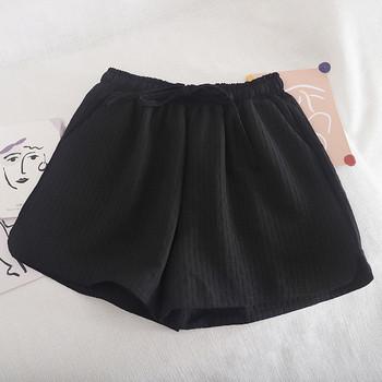 Къси дамски панталони с връзки и еластична талия