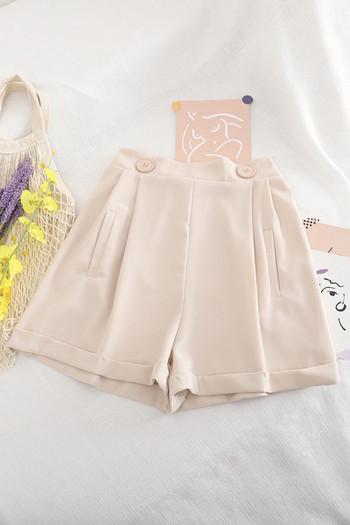 Дамски широки панталони с копчета и А-линия