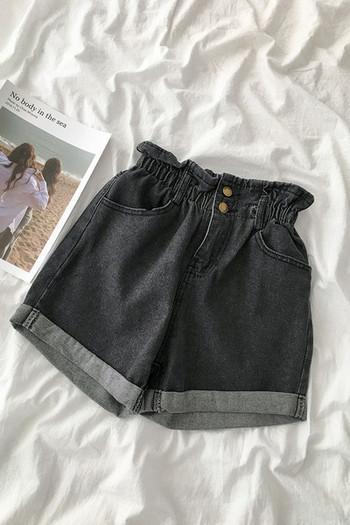 Дамски къси дънки с копчета и еластична талия
