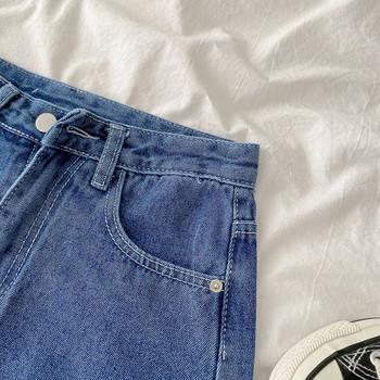 Дамски къси дънки ретро стил с джобове и висока талия