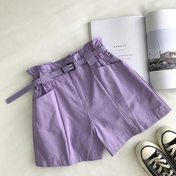 Модерни къси панталони с колан и джобове