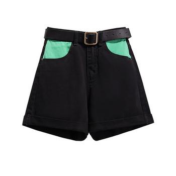 Дамски къси дънки с цветни джобове и колан