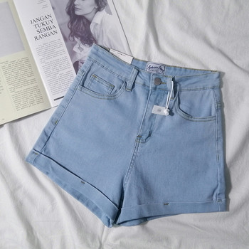 Еластични къси дънки с висока талия и джобове