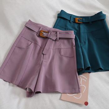 Къси дамски панталони ретро стил с колан