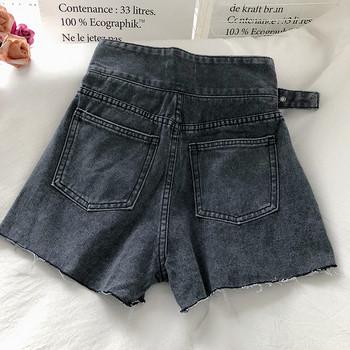 Дамски къси дънки с колан и джобове