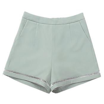 Къси дамски панталони от шифон с висока талия