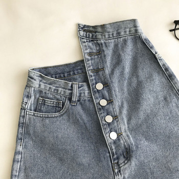 Къси дамски дънки с висока талия и копчета