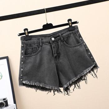 Дамски къси дънки широк модел с висока талия и джобове
