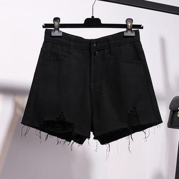 Къси дамски дънки с джобове и скъсани мотиви