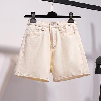 Къси дамски дънки с висока талия и размер до 5XL