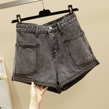 Дамски къси дънки с капси и джобове