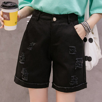 Ежедневни къси дънки с джобове и скъсани мотиви