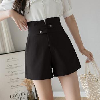 Модерни дамски къси панталони с копчета и А-линия