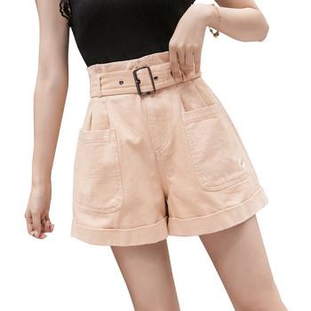 Къси дамски панталони с колан и бродерия