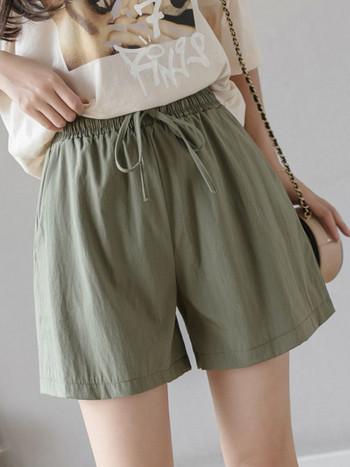 Къси дамски панталони с еластична талия и връзки