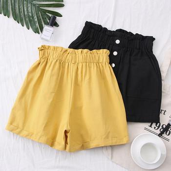 Къси дамски панталони с еластична талия и джобове