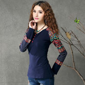Γυναικείο ρετρό πουκάμισο με μακριά μανίκια και έθνικο μοτίβο δύο μοντέλα: μπλε και μαύρο χρώμα