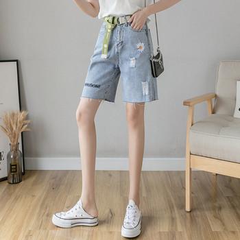 Дамски ежедневни дънки с бродерия и висока талия
