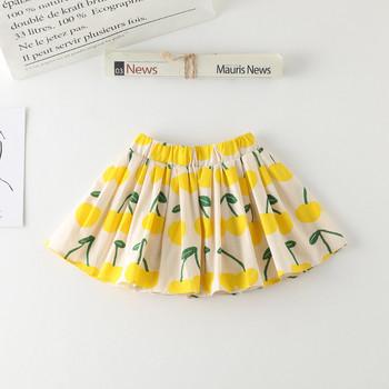 Μοντέρνα παιδική φούστα για κορίτσια με ψηλή μέση και χρωματιστό μοτίβο