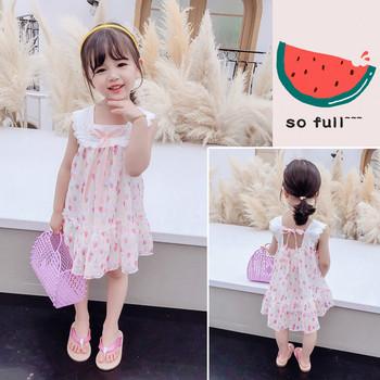 Καλοκαιρινό παιδικό φόρεμα για κορίτσια με χρωματιστό μοτίβο και κορδέλα