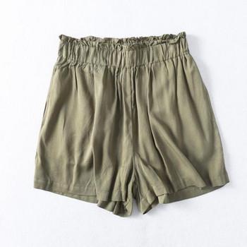 Къси  летни панталони с висока ластична талия