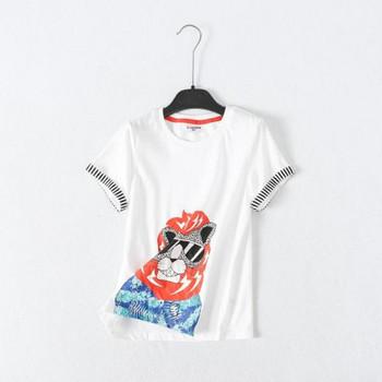 Детска тениска с цветна апликация