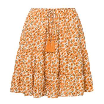 Ежедневна дамска къса пола с висока талия и флорален десен